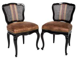 Pair of Painted Black Side Chairs