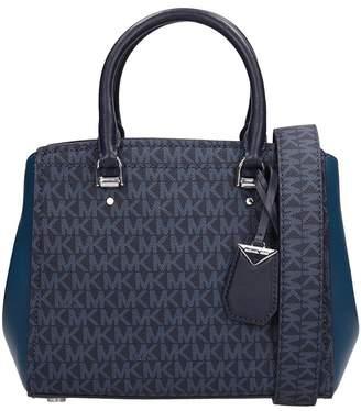 Michael Kors Blue Hammered Leather Messenger Bag