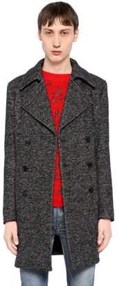 Saint Laurent Double Breasted Wool Herringbone Coat