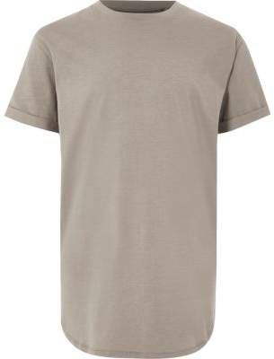 River Island Boys stone curved hem T-shirt