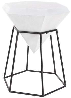 DecMode Decmode Modern 25 X 20 Inch White Hexagon Block Wooden Accent Table With Black Hexagonal Prism Frame Stand, White
