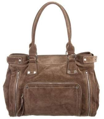 Longchamp Zipper Accented Suede Tote - GREEN - STYLE