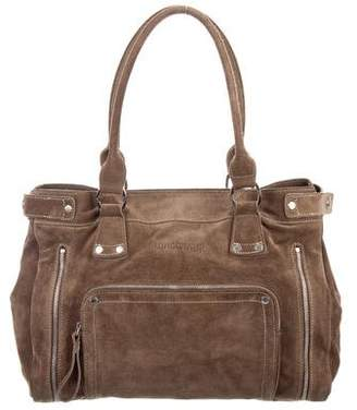 Longchamp Zipper Accented Suede Tote