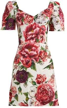 Dolce & Gabbana Peony And Rose Print Brocade Dress - Womens - White Multi