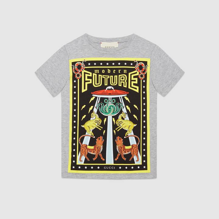 "Children's cotton t-shirt with ""Modern Future"" print 12"