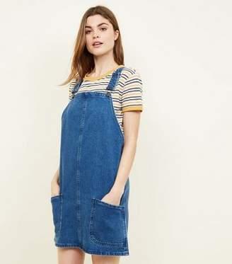 f46baf9e3e New Look Tall Blue Mid Wash Denim Pinafore Dress