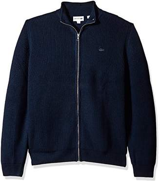 Lacoste Men's Wool Cardigan Rib Full Zip Sweater with Semi Fancy Stitch
