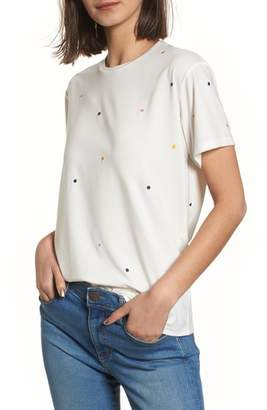 CURRENTLY IN LOVE Embroidered Polka Dot Tee