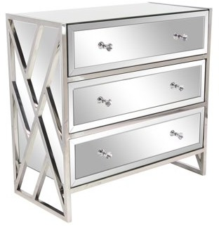 DecMode Decmode Modern Wood and Metal 3-Drawer Mirrored Console, Silver