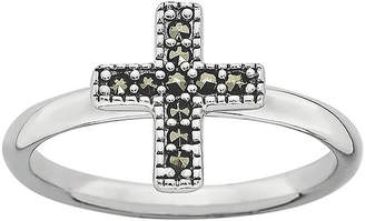 Fine Jewelry Personally Stackable Sterling Silver Cross Stackable Ring DUBLkwu6