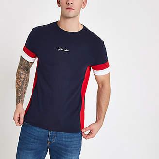 River Island Mens Navy 'Prolific' tape slim fit T-shirt
