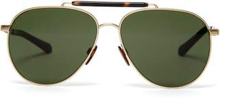 Burberry Milton Aviator Metal Sunglasses - Mens - Gold