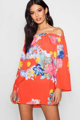 boohoo Floral Lace Up Back Shift Dress