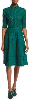 Oscar de la Renta 3/4-Sleeve Eyelet Shirtdress