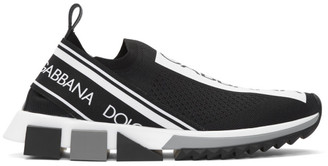 Dolce & Gabbana Black and White Sorrento Slip-On Sneakers