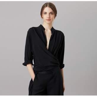Amanda Wakeley Air Black Tie Wrap Top