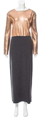 Cédric Charlier Metallic-Accented Wool Dress