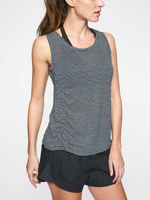 Athleta Linen Striped Ruched Tank