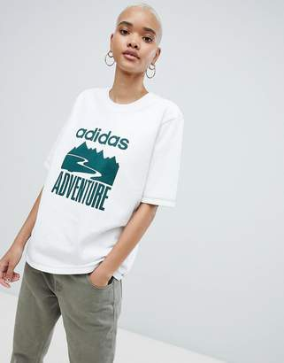adidas Adventure Oversized T-Shirt In White