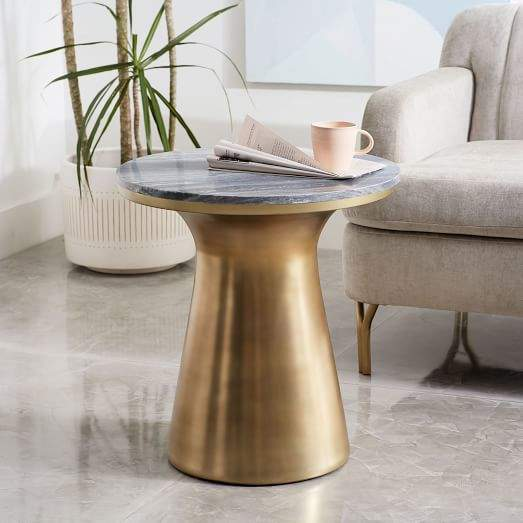 Marble-Topped Pedestal Side Table - Gray Marble/Antique Brass