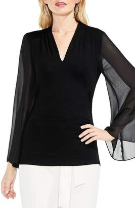 Vince Camuto Bell Sleeve Side Ruched Chiffon Top
