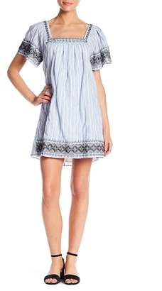 Lush Wide Sleeve Embroidered Shift Dress