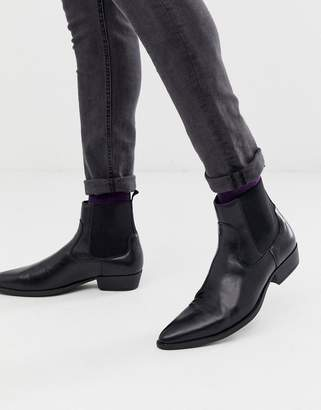 Asos Design DESIGN stacked heel western chelsea boots in black faux leather