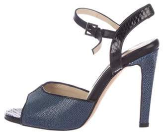 Chrissie Morris Leather Ankle-Strap Sandals Black Leather Ankle-Strap Sandals