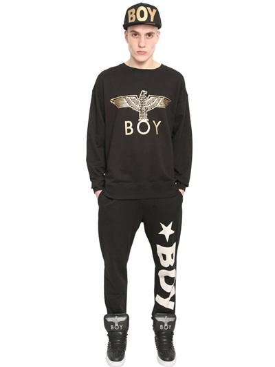 Boy London Boy Eagle Foil Print Fleece Sweatshirt