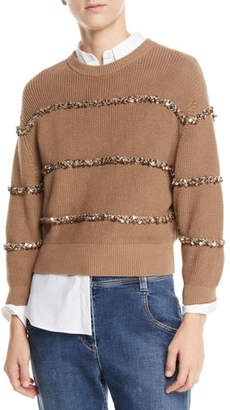 Brunello Cucinelli Paillette-Striped Ribbed Pullover Sweater