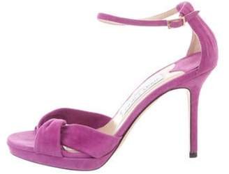 Jimmy Choo Suede Ankle Strap Sandals Purple Suede Ankle Strap Sandals