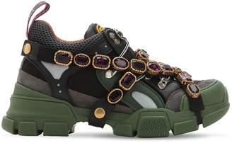 Gucci 60mm Flashtrek Leather & Mesh Sneakers