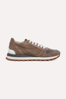 Brunello Cucinelli Bead-embellished Nylon, Suede And Leather Sneakers - Taupe