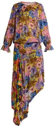 Preen By Thornton Bregazzi - Clara Floral Print Velvet Devoré Dress - Womens - Pink Multi