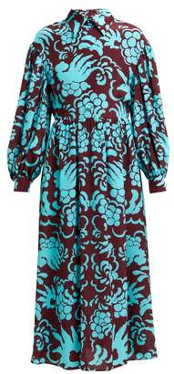 Valentino Tapestry Print Silk Crepe Dress - Womens - Burgundy Multi