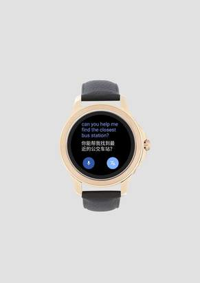 Emporio Armani Touchscreen Smartwatch With Stainless-Steel Case Leather Strap