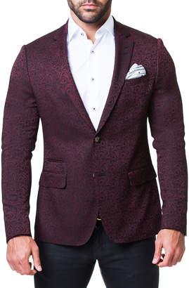 Maceoo Men's Socrates Paisley Red Blazer