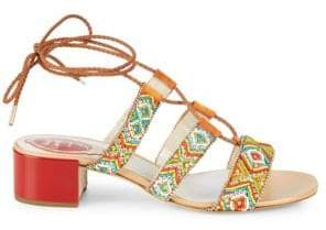 Rene Caovilla Embellished Ankle-Strap Leather Sandals