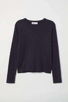 H&M Textured-knit Sweater - Blue