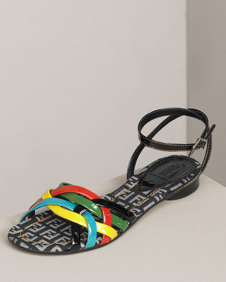 Fendi Patent Rainbow Flat Sandal