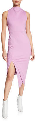 Elliatt Carmen Cowl-Neck Sleeveless Sheath Dress w/ Asymmetric Hem