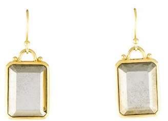 Elizabeth Showers 18K Pyrite Deco Drop Earrings