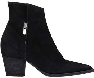 Officine Creative Audrey Black Suede Ankle Boots
