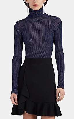 Altuzarra Women's Bryan Metallic Rib-Knit Turtleneck Sweater - Navy