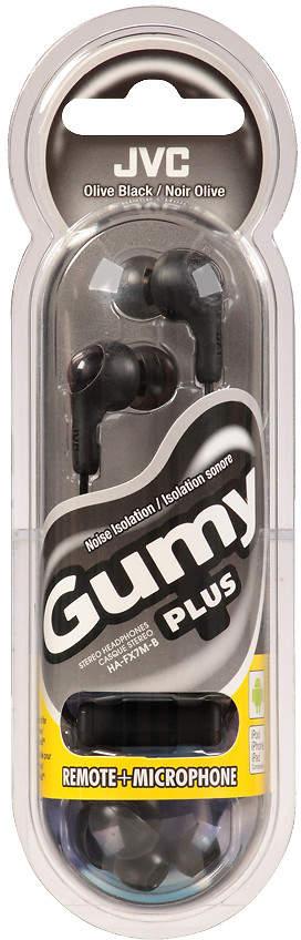 Jvc JVC Gummy Earbuds Plus Mic/Remote Olive Black