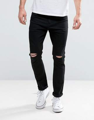 Brave Soul Skinny Black Jeans with Knee Rips
