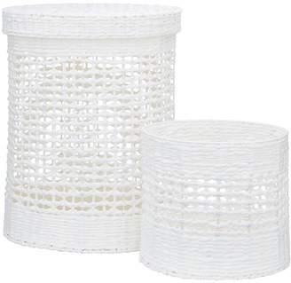 Very White Paper Crochet Laundry Basket and Bin Set