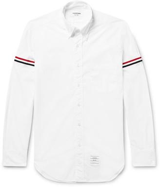 Thom Browne Slim-Fit Grosgrain-Trimmed Cotton-Poplin Shirt $480 thestylecure.com