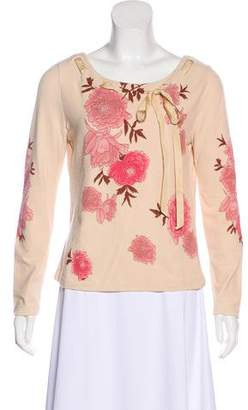 Blumarine Floral Long Sleeve Sweater