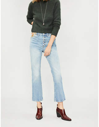 Free People Floral-embroidered straight high-rise jeans